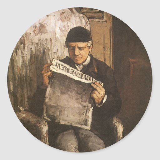 Father Of The Artist Reading by Cezanne, Fine Art Round Sticker