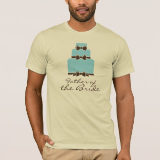 Father of the Bride Blue and Brown Wedding Cake T-Shirt