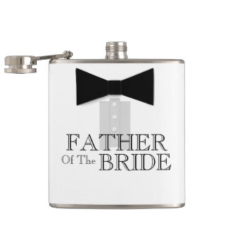 Father of the Bride Bow Tie Tuxedo Hip Flask
