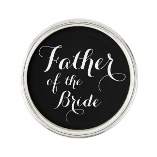 Father of the Bride Calligraphy Lapel Pin