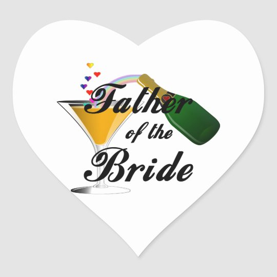 Father of the Bride Champagne Toast Heart Sticker