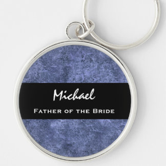 FATHER OF THE BRIDE Custom Name Blue Grunge Keychain