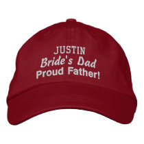 Father of the Bride Custom Name RED 03 Embroidered Baseball Hat