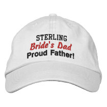 Father of the Bride Custom Name WHITE 02 Embroidered Baseball Hat