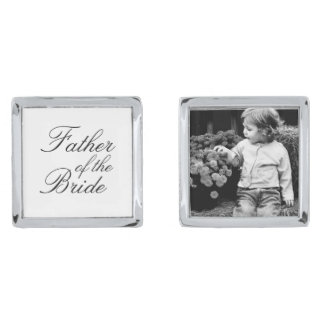 Father of The Bride Custom Photo Silver Cufflinks