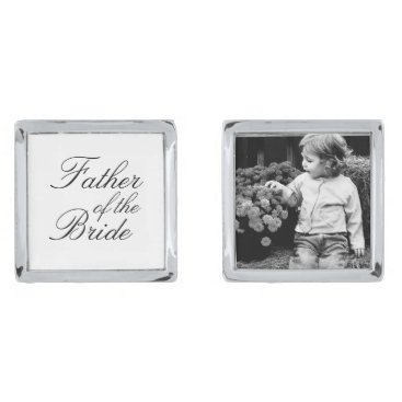 heartlocked Father of The Bride Custom Photo Silver Cufflinks