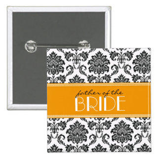 Father Of The Bride Damask Button in Orange