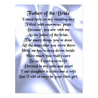 Father of the Bride Poem - Blue Silk Postcard