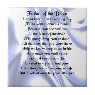 Father of the Bride Poem - Blue Silk Tile