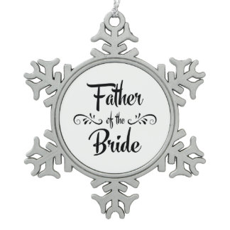 Father of the Bride Vintage Style Christmas Snowflake Pewter Christmas Ornament
