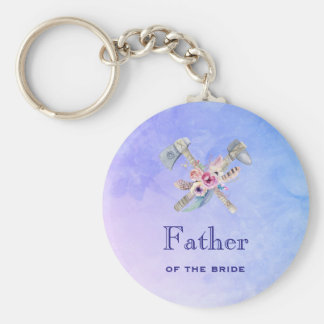 Father of the bride Watercolor Tomahawk Keychain