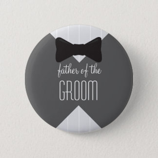Father of the Groom Bowtie & Stripes Pinback Button
