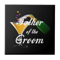 Father of the Groom Champagne Toast Ceramic Tile