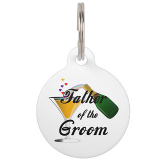 Father of the Groom Champagne Toast Pet Name Tag