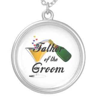 Father of the Groom Champagne Toast Silver Plated Necklace
