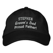 Father of the Groom Custom Name BLACK Embroidered Baseball Hat