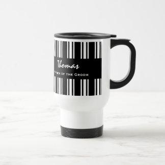 FATHER OF THE GROOM Custom Name Pin Stripes 2 Travel Mug
