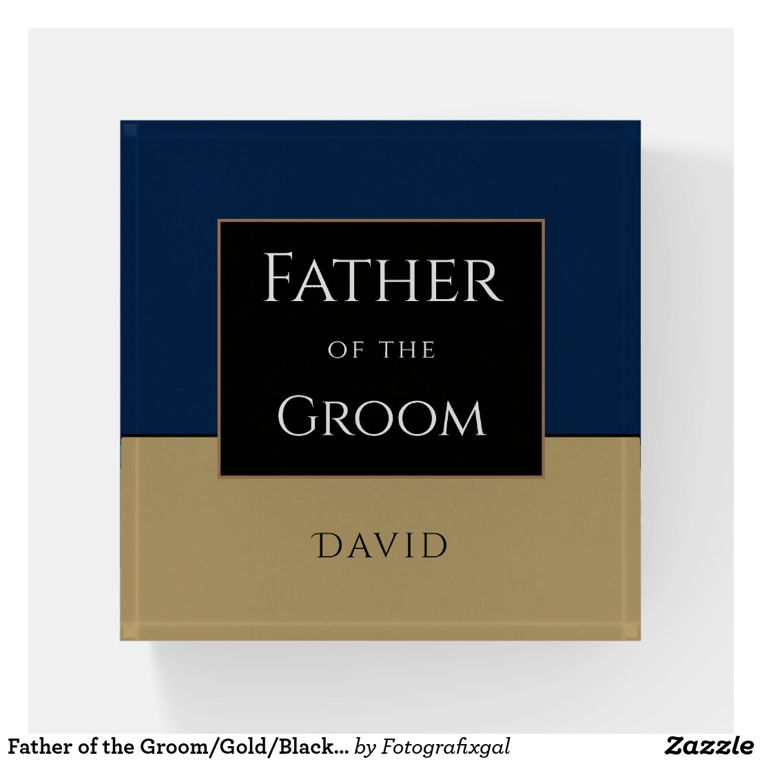 Father of the Groom/Gold/Black/Dark blue/Name Paperweight