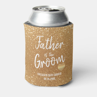 Father of the Groom in Gold Glitter Can Cooler