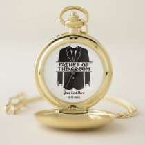 Father Of The Groom Tuxedo Wedding Party Pocket Watch