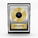 """Father Of The Year Plaque Award<br><div class=""""desc"""">This award plaque features a gold record and a gold plate that features the caption,  John Anderson... Father Of The Year 2012. You can add your own text to this award for any occasion, </div>"""