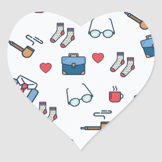 Father pipe pattern heart sticker