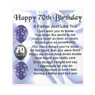 Father Poem - 70th Birthday Notepad