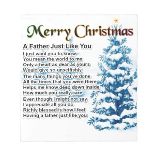 Father Poem - Christmas Design Notepad