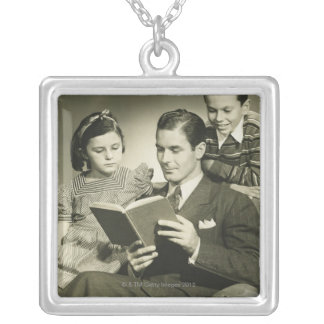 Father Reading to Son Square Pendant Necklace