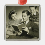 Father Reading to Son Square Metal Christmas Ornament