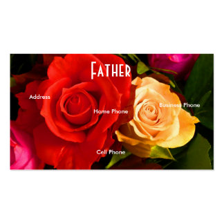 Father Red Yellow Roses Profile Card Business Card