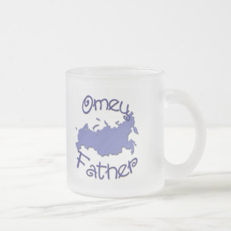 Father (Russian) Map Frosted Glass Coffee Mug