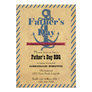 Father s Day Anchor BBQ Party Invitation