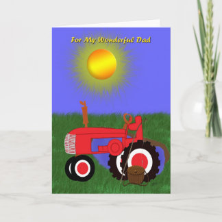 Father's Day Fishing Pole and Red Tractor Card