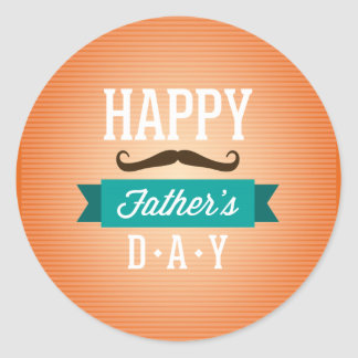 """Father""""s Day Greeting Funny Mustaches Classic Round Sticker"""