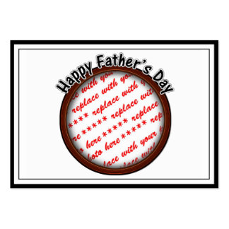 Father s Day Round Brown Photo Frame Business Cards