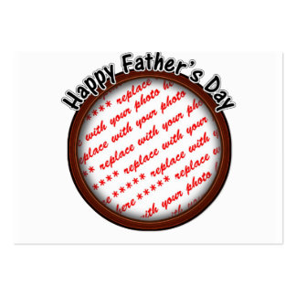 Father s Day Round Brown Photo Frame Business Card Template