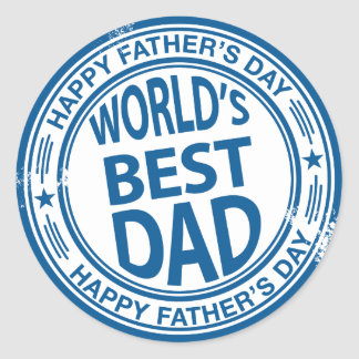 Father s day rubber stamp effect round sticker