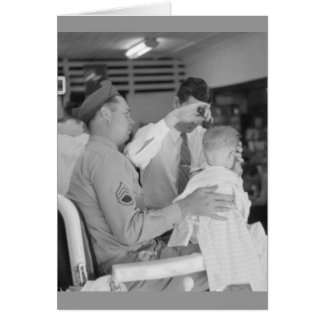 Father Son Barber Experience 1940s Card
