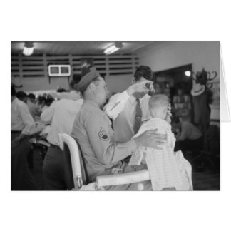 Father Son Barber Experience 1940s Greeting Card
