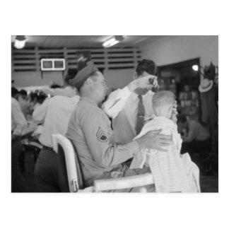 Father Son Barber Experience 1940s Post Card