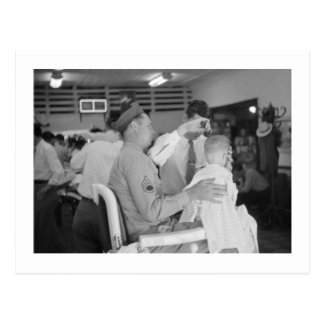 Father Son Barber Experience 1940s Postcard