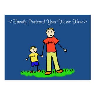 Father & Son Family Characters Customized Postcard
