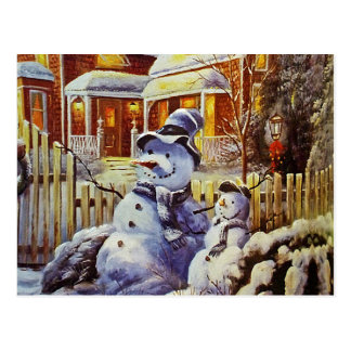 Father & Son Snowman Postcard