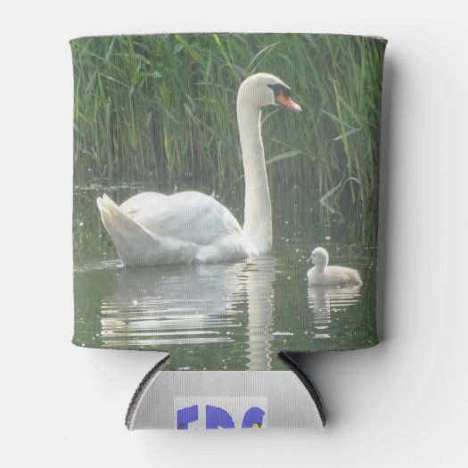 Father Swan with Baby Can Cooler