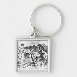 Father Thames Introduces his Offspring Silver-Colored Square Keychain