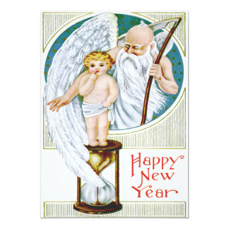 Father Time Baby New Year Hourglass Card