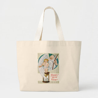 Father Time Baby New Year Hourglass Large Tote Bag