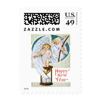 Father Time Baby New Year Hourglass Postage Stamp