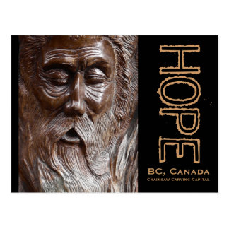 Father Time Old Man's Face Wood Carving Postcard